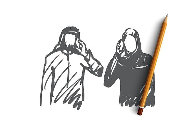 Uomo musulmano disegnato a mano e donna che parla dallo schizzo di concetto del telefono