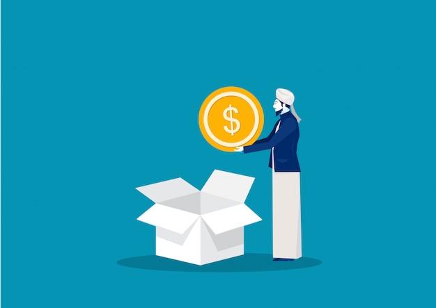Uomo musulmano donazione moneta per zakat in scatola