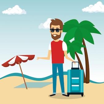 Uomo nel personaggio da spiaggia