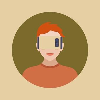 Uomo nell'auricolare di realtà virtuale di cartone