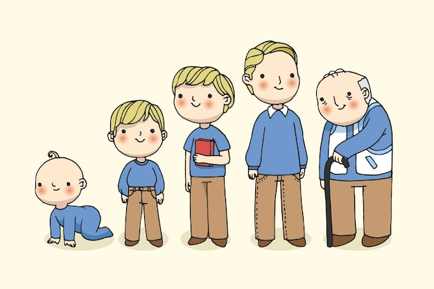 Uomo nell'illustrazione di età diverse
