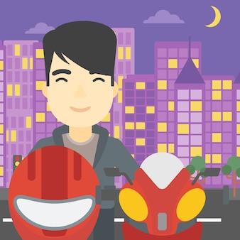 Uomo nell'illustrazione di vettore del casco del motociclista.
