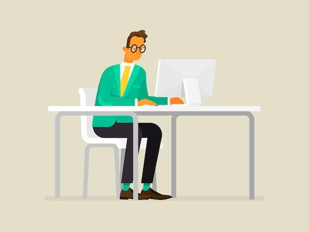 Uomo o impiegato di affari che lavora ad una scrivania davanti ad un computer, illustrazione nello stile piano