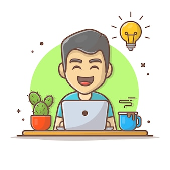 Uomo operativo laptop icona del fumetto illustrazione persone business icona concetto isolato. stile cartone animato piatto