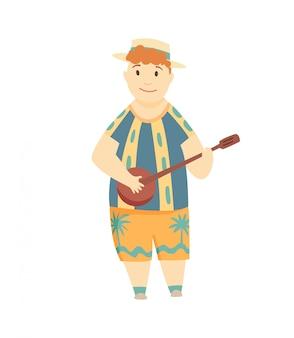 Uomo positivo che gioca ukulele. ragazzo hawaiano felice che gioca chitarra e che canta. può essere utilizzato per argomenti come cultura, vacanze, gente.