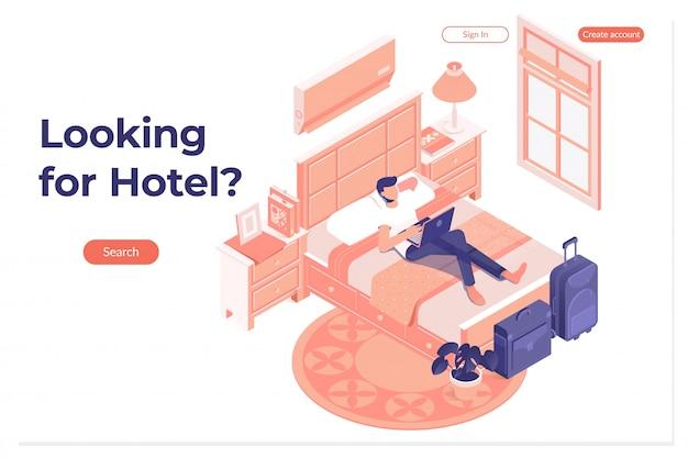 Uomo prenotazione prenotazione hotel su tavoletta digitale