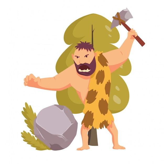 Uomo primitivo dell'età della pietra con martello di pietra.