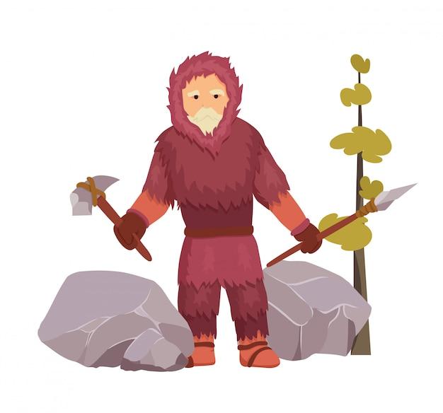 Uomo primitivo dell'età della pietra del nord ben vestito con abiti caldi di pelliccia con martello di pietra e lancia.