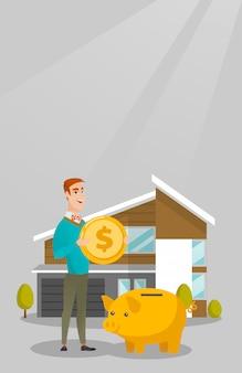 Uomo risparmio di denaro nel salvadanaio per l'acquisto di casa.