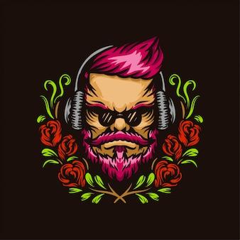 Uomo rosa dei capelli con l'illustrazione disegnata a mano della corona del fiore e della cuffia