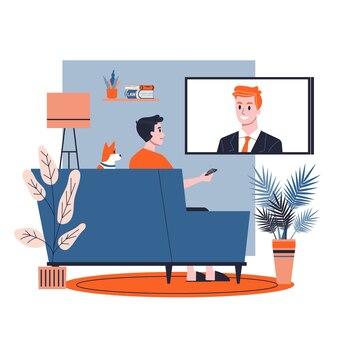 Uomo seduto da solo a casa sul divano. guy rilassarsi in casa e guardare i notiziari tv. illustrazione in stile cartone animato