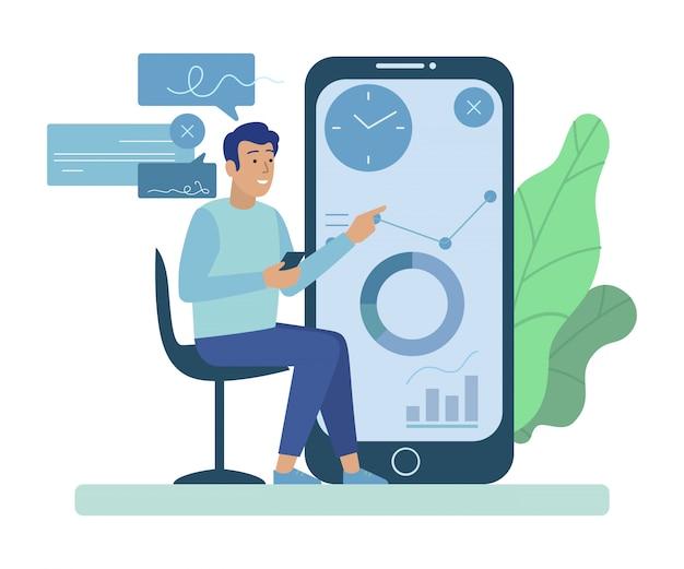 Uomo seduto per schermata del telefono con grafici e diagrammi