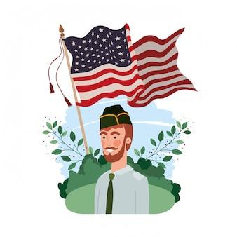 Uomo soldato della guerra con il paesaggio e la bandiera degli stati uniti