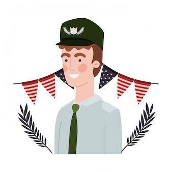 Uomo soldato di guerra con la bandiera degli stati uniti