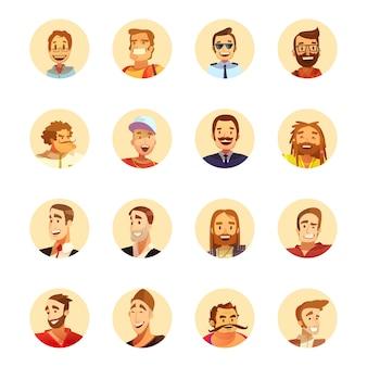 Uomo sorridente con la collezione di icone rotondo avatar barba