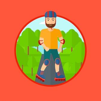 Uomo sportivo su pattini a rotelle.