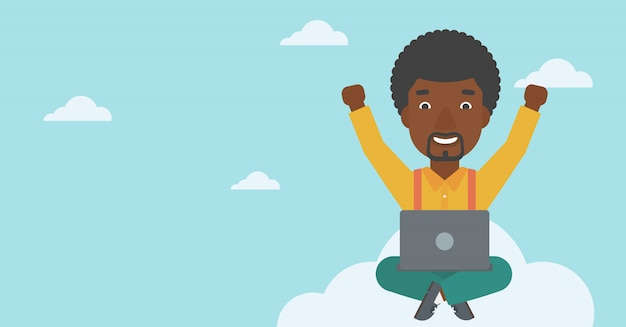 Uomo su nuvola con laptop