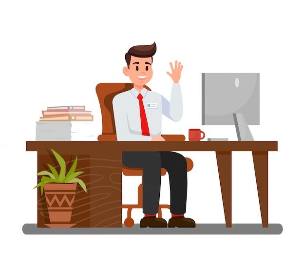 Uomo sul posto di lavoro nell'illustrazione di vettore dell'ufficio