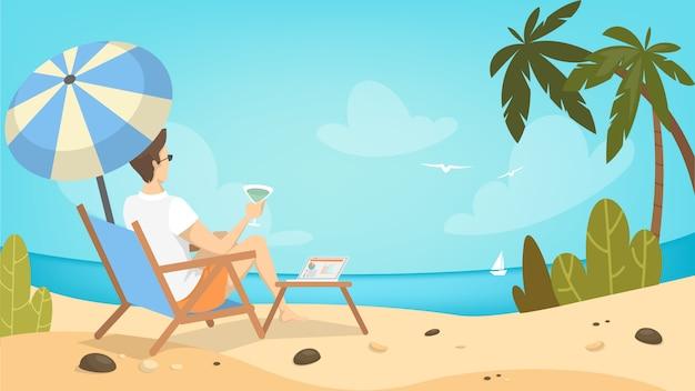 Uomo sulla spiaggia rilassante sulla sedia in vacanza.