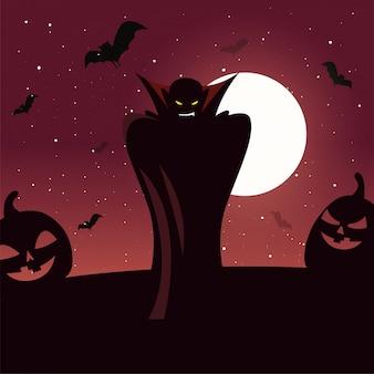 Uomo travestito da vampiro in scena di halloween