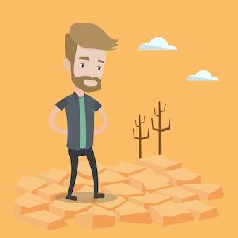 Uomo triste nel deserto.