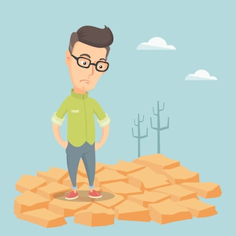 Uomo triste nell'illustrazione di vettore del deserto.