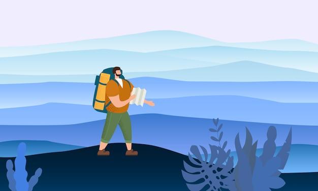 Uomo turistico con la mappa e lo zaino che svolgono attività turistica all'aperto