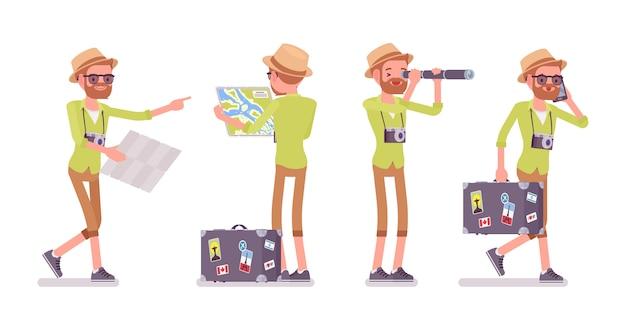 Uomo turistico in situazioni di viaggio