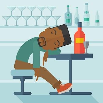 Uomo ubriaco africano addormentarsi nel pub.