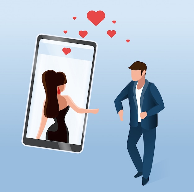 Uomo vicino a schermo del telefono donna su display digitale