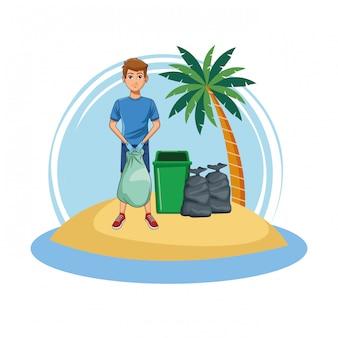 Uomo volontario pulizia della spiaggia