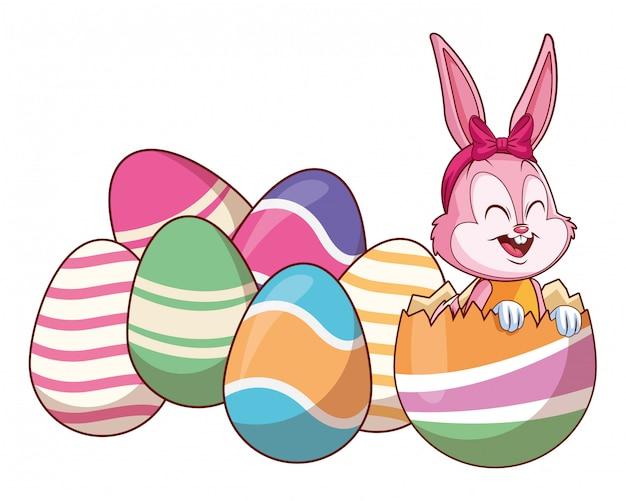 Uova colorate carino coniglietto di pasqua