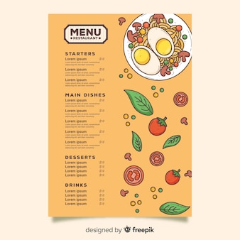 Uova con modello di menu di pasta