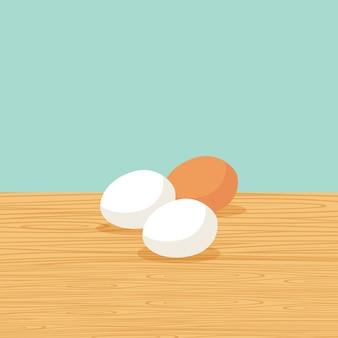 Uova di fattoria naturale sul tavolo
