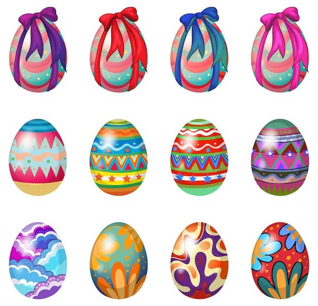 Uova di pasqua con disegni e nastri
