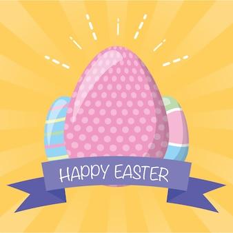 Uova di pasqua con la cartolina d'auguri del nastro