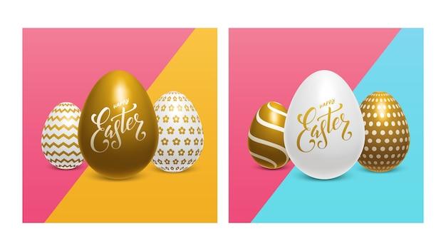 Uova di pasqua con lettere scritte a mano su uno sfondo colorato luminoso. set di realistico oro e uova bianche. tipografia di buona pasqua disegnata a mano