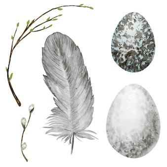 Uova di pasqua disegnate a mano dell'acquerello, uccello piuma luminosa, ramo di salice con foglie verdi messe. illustrazione