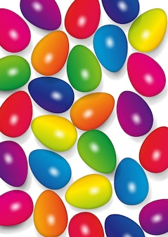 Uova di pasqua nei colori dell'arcobaleno, illustrazione di vettore