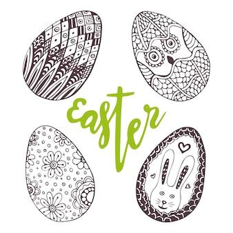 Uova di pasqua. set unico doodle con lettering pasqua. decorazione di festa per il biglietto di auguri. zentangolo uovo.