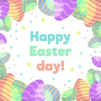 Uova e coriandoli felici di giorno di pasqua dell'acquerello