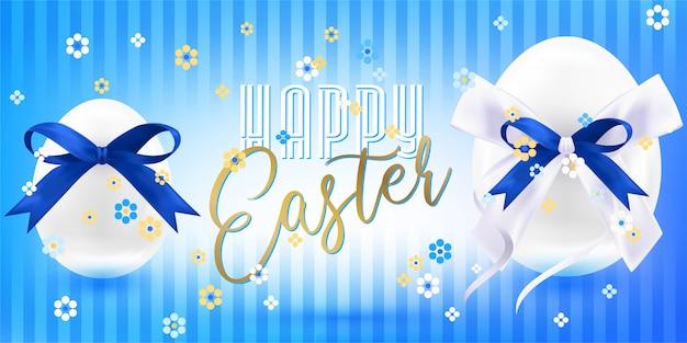 Uova lucide bianche di pasqua con fiocco in seta blu e coriandoli floreali