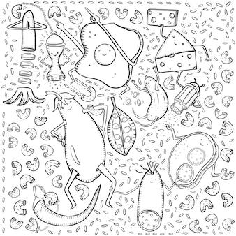 Uova strapazzate, formaggio, salsiccia, melanzane, cetrioli, piselli, sandwich, salsiccia, riso, pasta e altri scarabocchi su sfondo bianco