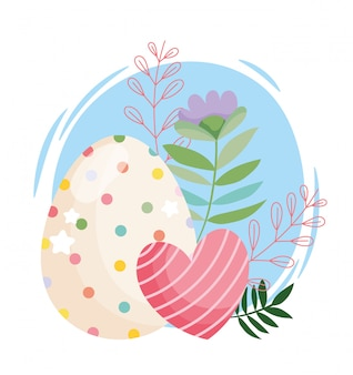 Uovo di bellezza felice pasqua con puntini e cuore a strisce fiori decorazione illustrazione