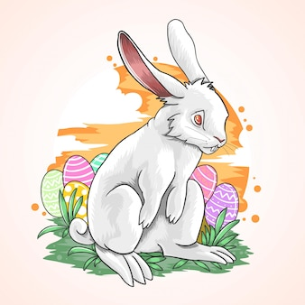 Uovo di coniglio di pasqua cielo di colore pieno