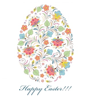 Uovo di pasqua colorato floreale