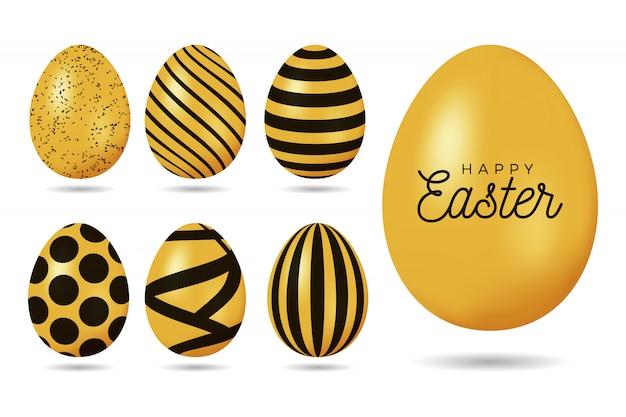 Uovo di pasqua d'oro. felice pasqua 7 realistici brillare d'oro set di uova decorate