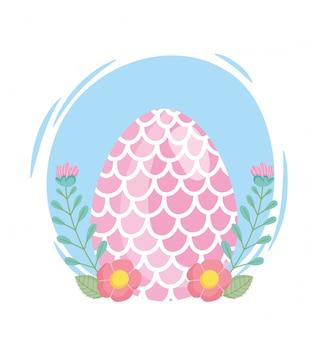 Uovo di pasqua felice decorato con forma di illustrazione di fiori di squame