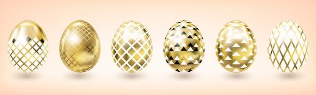 Uovo di pasqua in oro giallo con decorazioni semplici