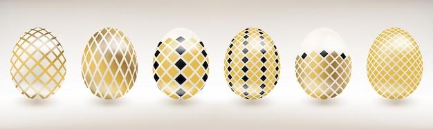 Uovo di pasqua in porcellana bianca con decoro a diamante